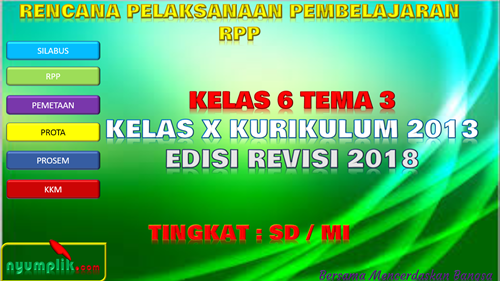 Download RPP K13 Kelas 6 Semester 1 Revisi 2018 Tema 3