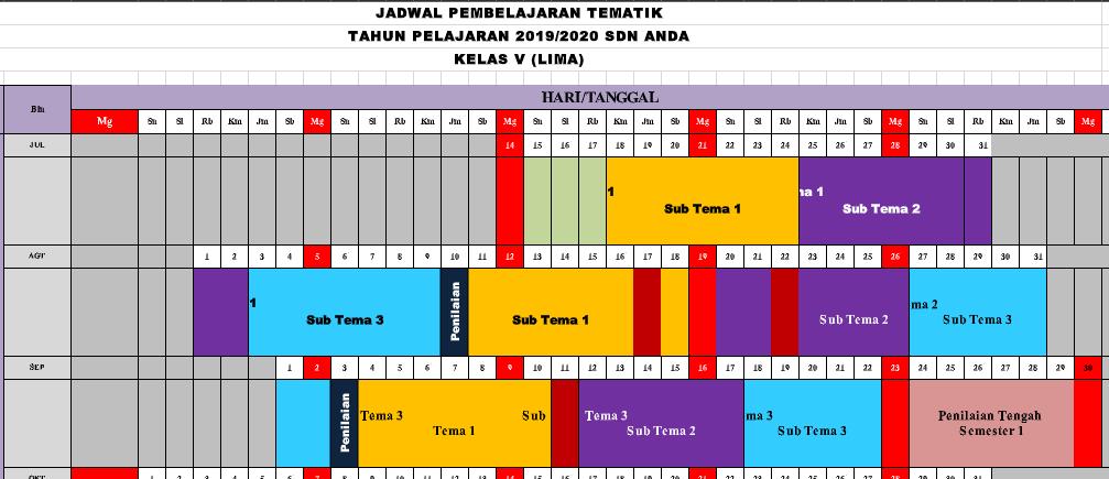 Jadwal Pelajaran K13 SD