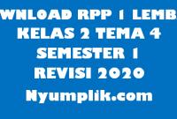 Download RPP 1 Lembar Kelas 2 Semester 1 Tema 4 Format Terbaru